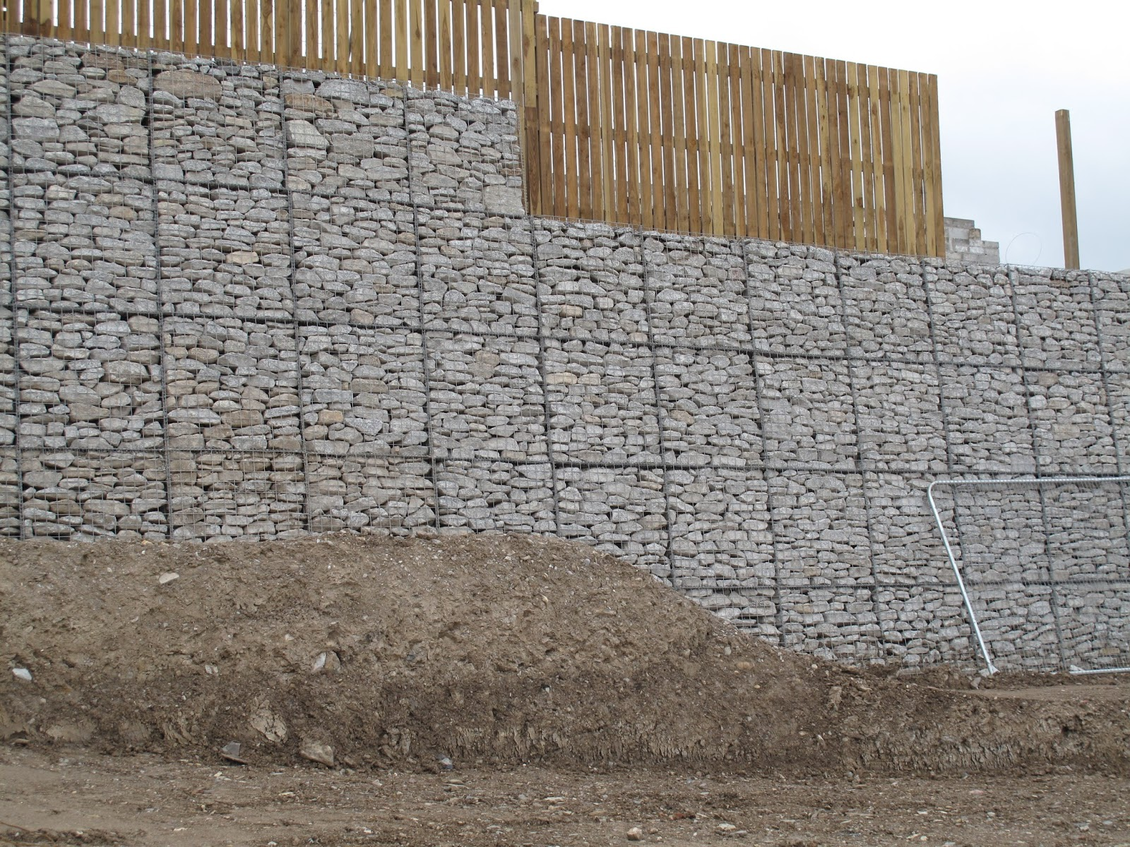 Retaining gabion wall at Swanvale