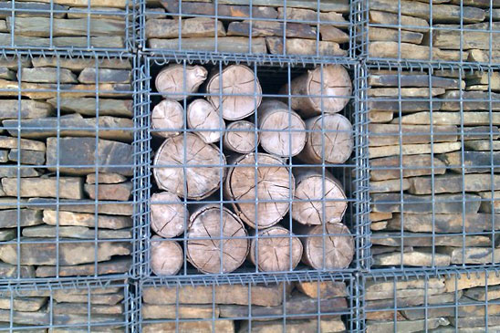 Example of stone filled cages mixed with a wood fill