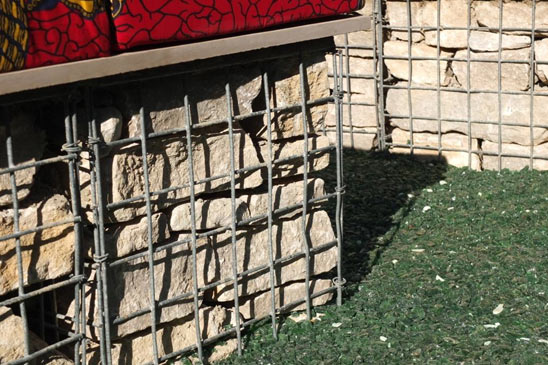 Low garden wall made from 500mm gabions with seating on top